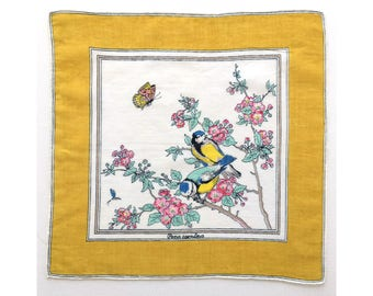 Chickadees and Wild Roses vintage ladies' handkerchief, birds hankie, novelty hanky, H13