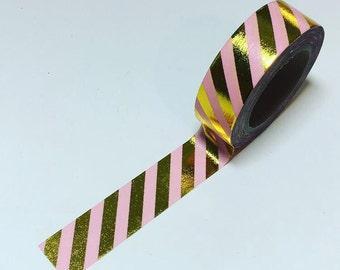 pink striped washi, gold striped washi, pink gold washi, gold foil washi
