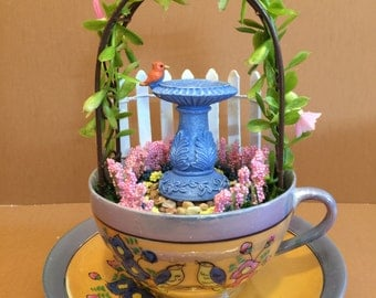 "Fairy Garden, Tea Cup, Miniature, Vintage ""Enchanted Garden"""