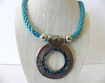 Handmade cord blue turquoise necklace,  cord, handmade necklace, gift for her, blue pendant, women necklace, teen cord necklace, accesories
