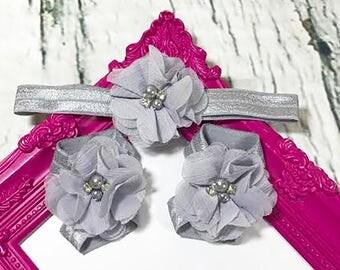 Baby Headband / Baby Girl Headband / Gray Headband / Chiffon Flowers / Barefoot Sandals / Headband Set / Baby Bows / Girls Hair Bows /Infant