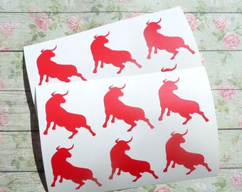24 Bull Stickers, Bull Decals, cowboy birthday  envelope seals, removable wallpaper,  animal stickers, bullfighting, toreador, Spanish party