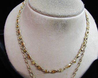Vintage Signed FI Double Stranded Brown & Yellow Stone Necklace