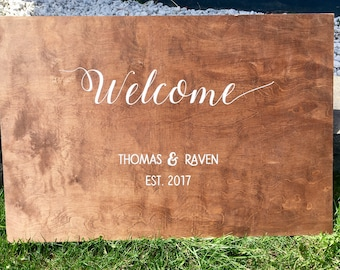 Welcome Sign ; Wedding Wood Signage ; Wooden Welcome Sign ; Custom Design / Personalized Names , Date