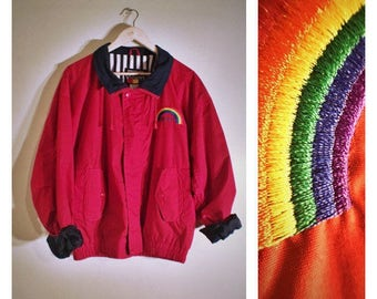 90s Hartwell ViaSport red zip-up jacket w/ striped lining and rainbow pocket