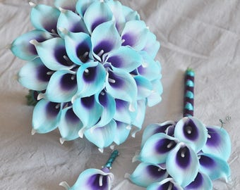 Wedding Bouquet Purple Turquoise Blue Picasso Calla Lily Bridal Bouquet Bridesmaid Bouquet Groom Groomsman Boutounniere wedding package