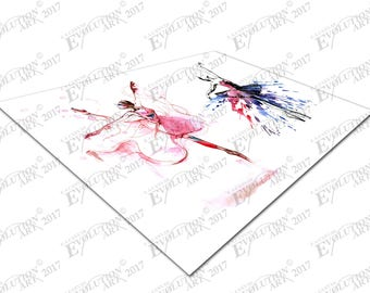 Print on Canvas Watercolor pair of Ballerinas Dancing girls X1556
