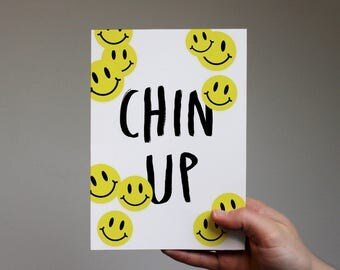 Chin Up Card, friendship, keep your head up,  yorkshire, positivity,  difficult times,