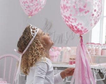 Pink Confetti Balloons - Princess Party Balloons - Pink Party - Birthday Party - Hen Party - Baby Shower - Bridal Shower - Baby Girl