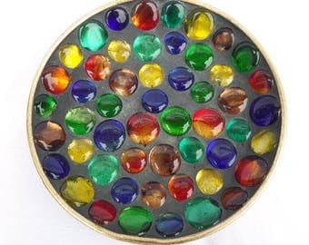 "French Multi Coloured Glass Pebble Stone Plate, Artisan Mid Century Circa 1960, Gold Leaf Painted Back, 7.25"", Excellent Condition"