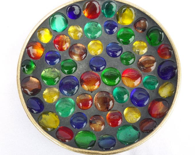 """French Multi Coloured Glass Pebble Stone Plate, Artisan Mid Century Circa 1960, Gold Leaf Painted Back, 7.25"""", Excellent Condition"""
