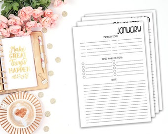 monthly objectives printable planner insert - Filofax A5 / Kikki K Large / print at home / planner refill / monthly goals