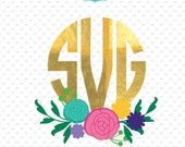 Flower svg, flower monogram svg, flower monogram, svg, svg files, monogram svg, silhouette, cricut, cut files  ID#MF1