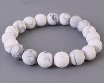 Natural Stone Stretch Bracelet in White Marble