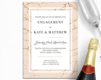 Engagement invitation, wedding invitation, marble invitation, elegant, cream and gold, digital printable, customised