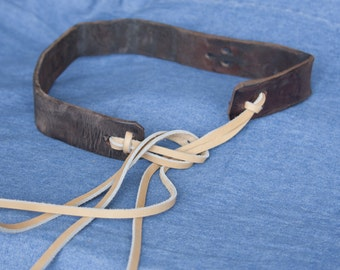 Upcycled Leather Belt with Tie Closure