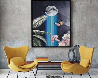 Moon Art Print, Surrealist Art, Surreal Print, Surrealism,Modern Surrealism, Home Decor, Wall Art, Modern Decor