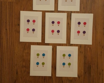 7 hot air balloon cross stitch cards