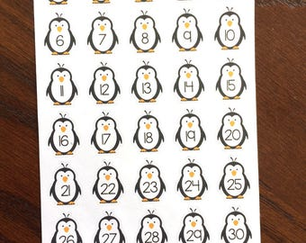 Penguin Number Planner Stickers - Penguin Date Cover Stickers- Penguin Countdown Planner Stickers - Penguin Stickers