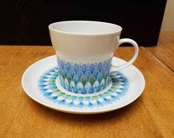 Noritake Younger image Bahama blue green pattern tea cup and saucer Very nice