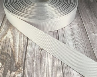 "Solid grey Grosgrain - 7/8"" Grosgrain ribbon - 5 yards - craft ribbon - DIY hair bow - DIY headband - Wedding ribbon - grey wedding"