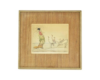 """1920's Hand Colored Etching """"The Enchantress"""" Woman Communing with Cranes"""