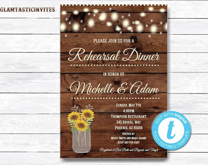 Rustic Rehearsal Dinner Invitation, Rustic Invitation, Mason Jar invitation, Flower Invite, Rehearsal Dinner Invitation, Instant Download