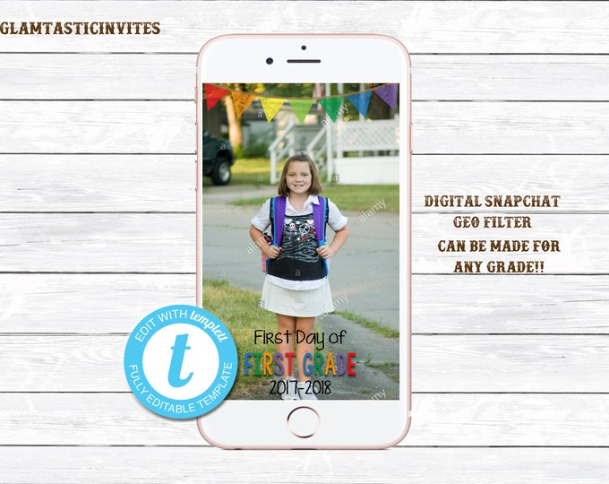 Snapchat Filter, First Day of School Snapchat, Digital Photo Filter, School Snapchat Filter, Photo Filter, Snapchat, Back to School, First