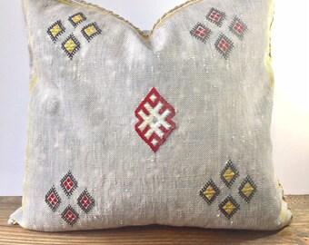 Vintage Handmade in Morocco Kilim Rug Pillow