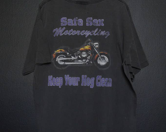 Safe Sex Motocycling 1990s vintage Tshirt