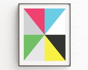 Mid Century Modern Wall Print, Contemporary Art, Colorful Wall Prints, Wall Art