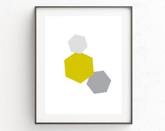 Geometric Art Print, Abstract Art, Geometric, Yellow Playroom Art, Printable Wall Art, Wall Decor, Yellow, Minimalist Poster, Minimal Art