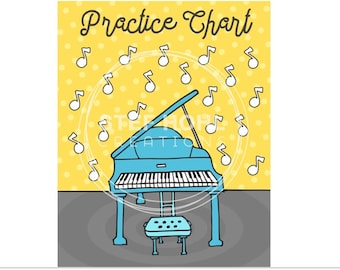 Piano Practice Chart, Printable Digital JPEG, Reward Chart