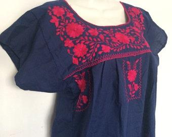 Hand embroidered navy blue mexican dress made of poplin / traditional boho dress / bohemian folk long dress / vestido mexicano bordado