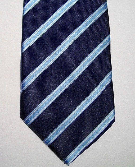 PAUL SMITH London Navy and Pale Blue Diagonal Stripe Silk Neck-Tie Made in Italy