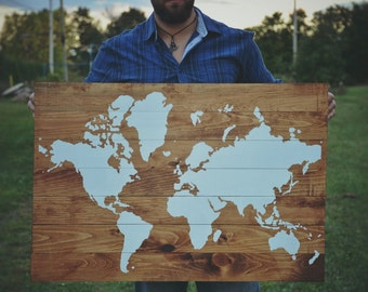 World Map on Wood | Medium Brown