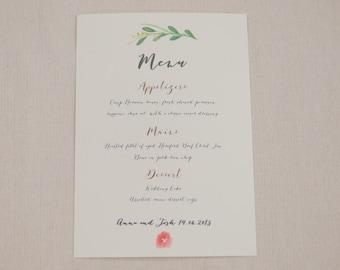 Printed or Printable - Free shipping - Floral wedding menu - Botanical wedding menu - vintage menu - rustic menu - boho menu