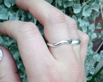 Wave Ring, Simple Silver Ring