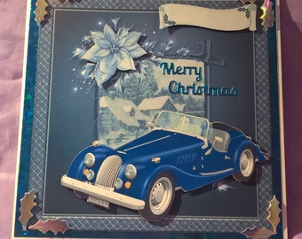 vintage car 3d Christmas card in shades of blue and silver a name or family member can be added for free if you request it on purchase