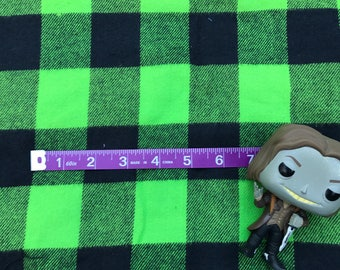 Green Black Plaid Check Square Fleece or Felt like Fabric Remnant 1yard