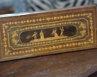 Vintage Reuge St. Croix Marquetry Inlaid Music Box/ Italian Music Box/ Swiss Movement/ Jewelry Box/ Folk Dancer Scene/ Valentine's Day Gift