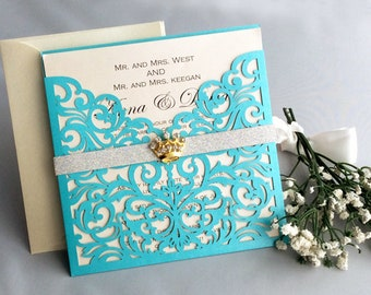 V60A Personalized Floral Lace Laser Cut Pocket With Crown Rhinestone Silver  Glitter Band Tiffany Blue Wedding