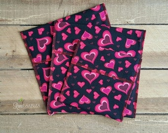 SALE sandwich bags, reusable sandwich bags, snack bags, waterproof bag, fold over bag, lunch bag, valentine's day bag