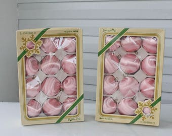 Reserved KEN-Vintage-Two Boxes of Pink Satin Pyramid Ornaments-Silk Thread-24 with Boxes-Pink Tree-Christmas-Valentines Tree-Easter Tree