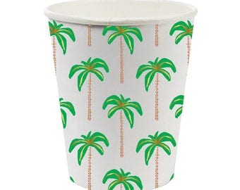 Palm tree paper Cups.  Set of 8.  Palm tree print party cups. Tropical party cup. Luau tableware.  Beach party cups.  Palm tree cups.