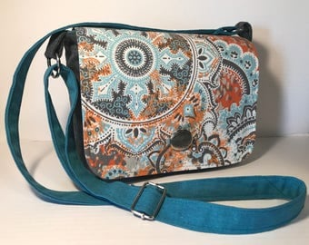 Medium Cross Body Messenger Bag Gray Teal