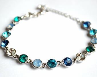 Amazing women sapphire aquamarine turqoise bracelet crystal elements white gold plated bridal gift bridal jewelry wedding bracelet