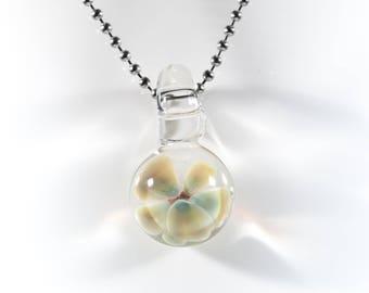 Floral Implosion Pendant #12, Glass Flower Pendant, Boro Pendant, Lampwork Focal