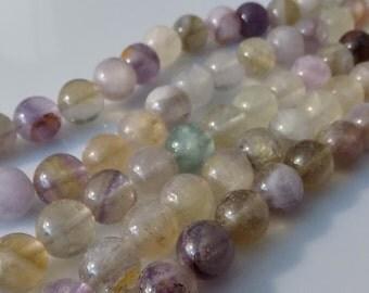 "Natural Pink/Purple 10mm Round Rainbow Fluorite Gemstone Beads (15"" Strand)"