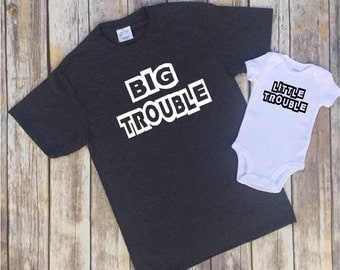 Shirt set for Dad, Big Trouble shirt, Little trouble bodysuit, Shirt set, Baby shower gift, Baby Announcement, Gift for dad, New Dad gift